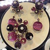 Украшения handmade. Livemaster - original item Currant.  Earrings and ring with diamonds, corundum in gold. Handmade.