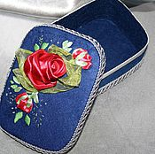 "Для дома и интерьера handmade. Livemaster - original item Box, flowers, ribbon, jewelry box with flowers ""name of the Rose"". Handmade."