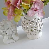 Материалы для творчества ручной работы. Ярмарка Мастеров - ручная работа Подсвечник -ваза ажур керамика шебби. Handmade.