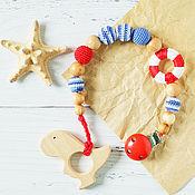 Одежда handmade. Livemaster - original item Holder for pacifiers - teething toy - Linguaglossa sea. Handmade.