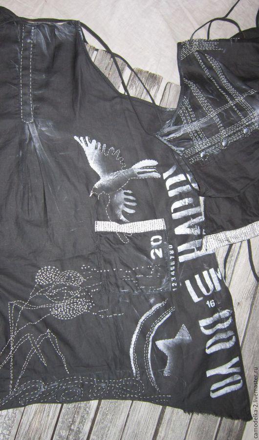 Платья ручной работы. Ярмарка Мастеров - ручная работа. Купить Бохо фартук -сарафан с птицами. Handmade. Черный, одежда, большой размер