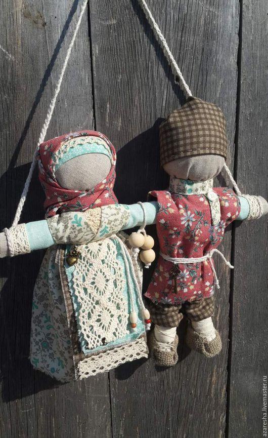 """Народные куклы ручной работы. Ярмарка Мастеров - ручная работа. Купить Оберег """"Неразлучники"""". Handmade. Бирюзовый, оберег в подарок, хлопок"""