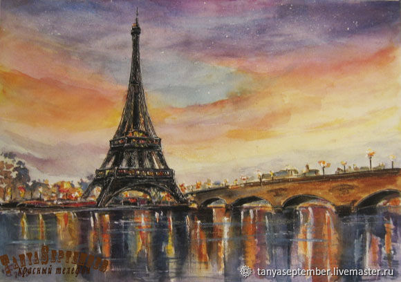 Watercolour painting EVENING in PARIS. Fantasy on the theme, Pictures, Moscow,  Фото №1