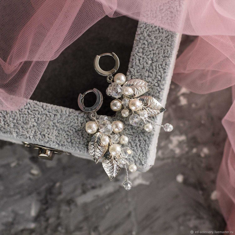 Жемчужные серьги с листочками, Серьги, Барнаул,  Фото №1