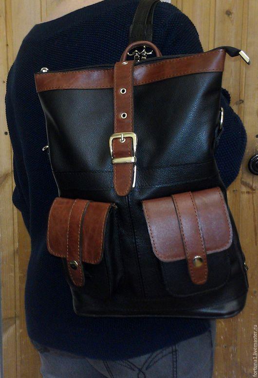 Рюкзаки ручной работы. Ярмарка Мастеров - ручная работа. Купить Рюкзак-сумка кожаный   28. Handmade. Разноцветный, рюкзак-сумка