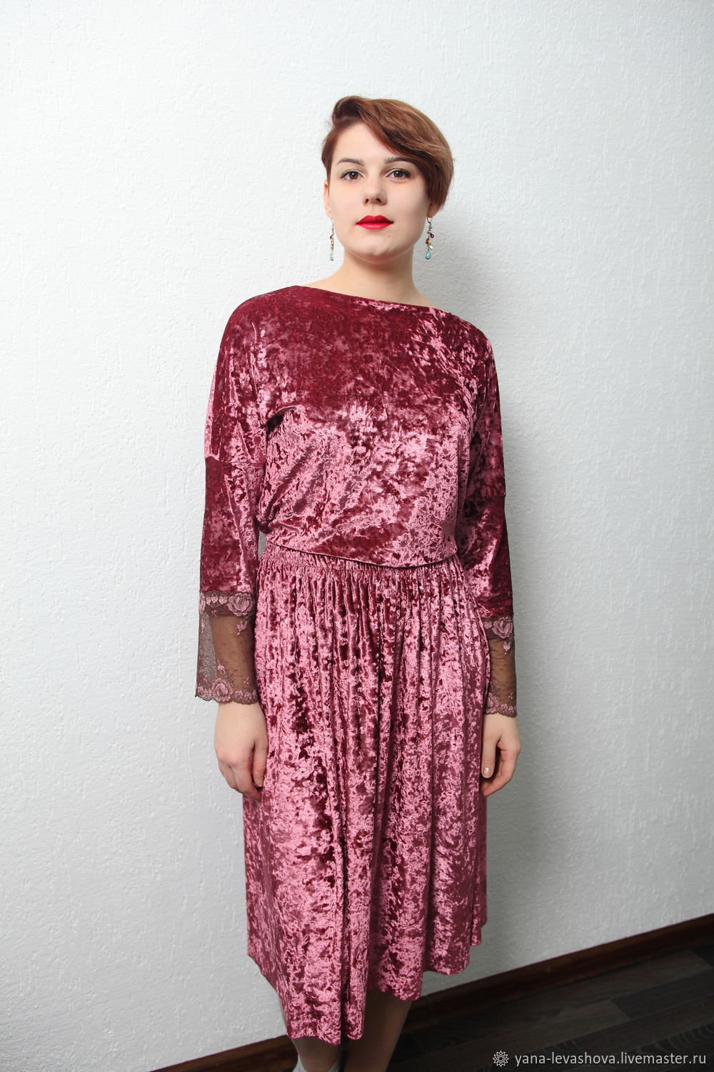 Skirt and blouse velvet Burgundy powder with lace, Suits, Moscow,  Фото №1