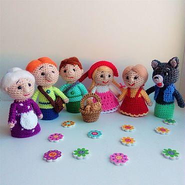 Dolls & toys handmade. Livemaster - original item Finger theatre Red riding hood Fairy tale heroes. Handmade.