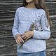 Кофты и свитера ручной работы. Ярмарка Мастеров - ручная работа. Купить Пуловер с ажурной кокеткой. Handmade. Серый, пуловер для девочки
