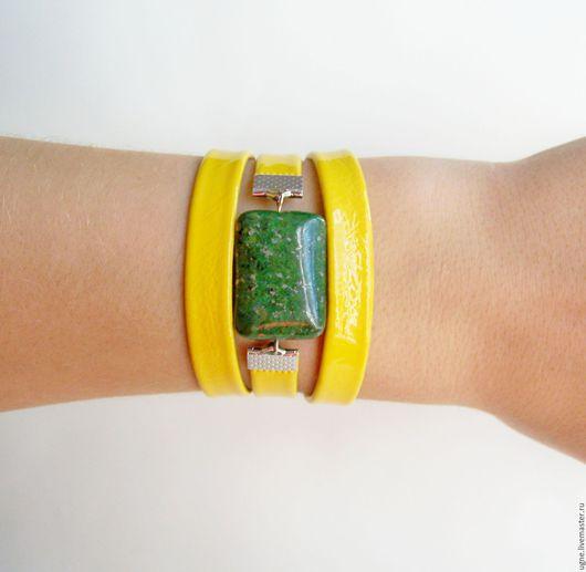 Браслеты ручной работы. Ярмарка Мастеров - ручная работа. Купить Браслет Цитрус с крупным камнем из кожи Желтый Зеленый. Handmade.