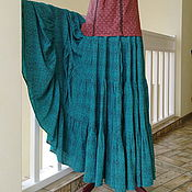 Одежда handmade. Livemaster - original item Tiered skirt from the staple dark turquoise speckled. Handmade.