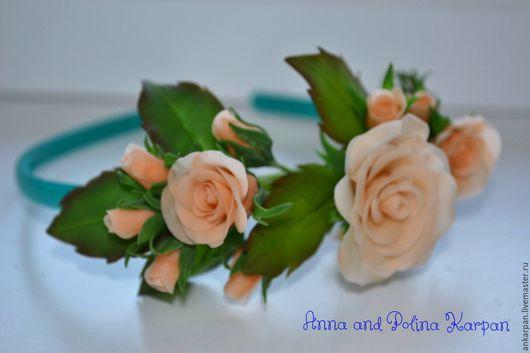 """Цветы ручной работы. Ярмарка Мастеров - ручная работа. Купить Ободок """"Чайная роза"""". Handmade. Бежевый, подарок девушке, проволока"""