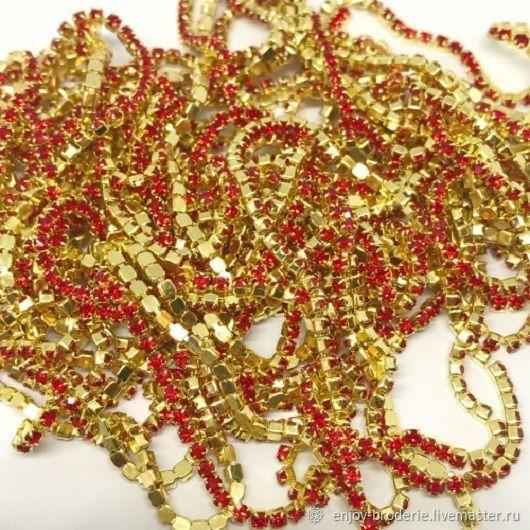 Стразовая лента, красная в золоте, 1,4 мм, 10 см, Кристаллы, Санкт-Петербург,  Фото №1