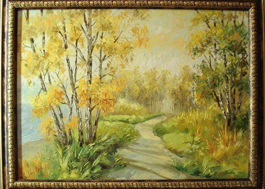 Пейзаж ручной работы. Ярмарка Мастеров - ручная работа. Купить осень. Handmade. Желтый, картина, картина для интерьера, картина в подарок