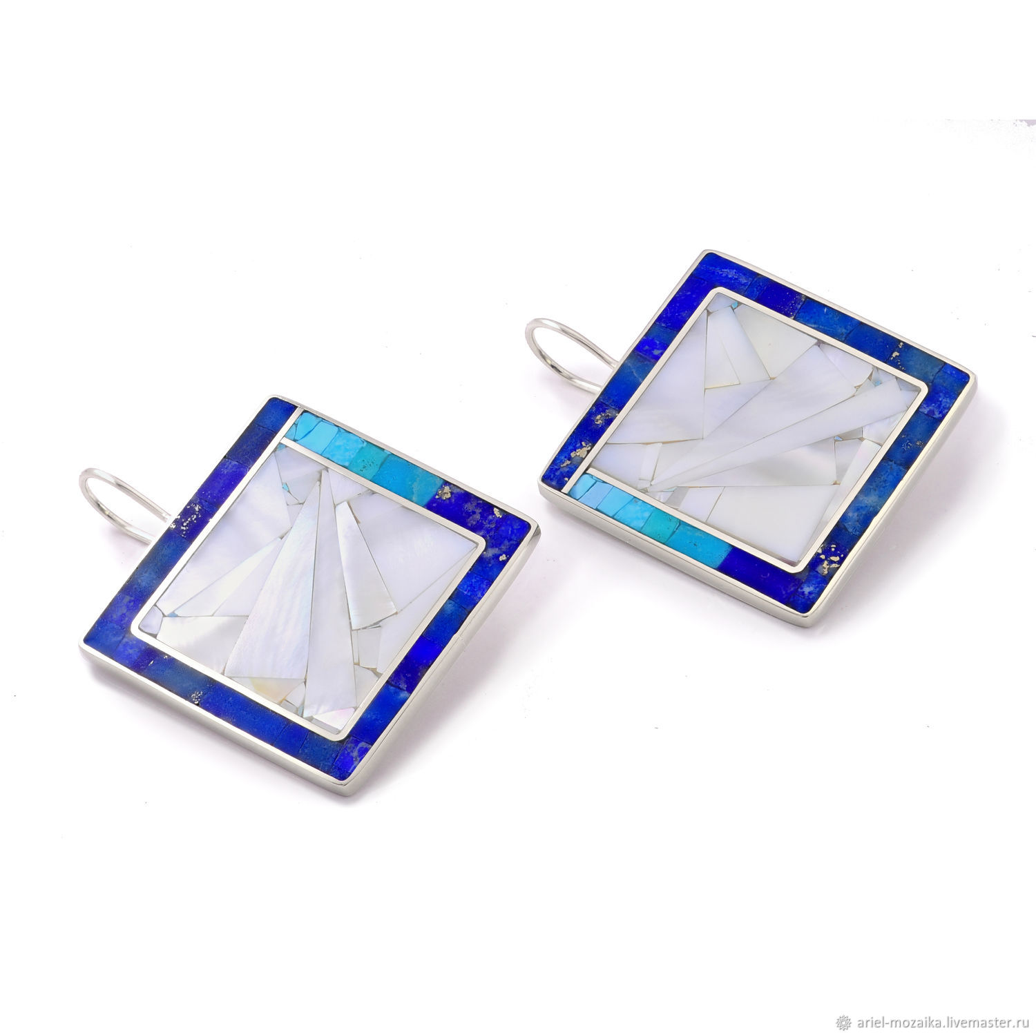 EARRINGS Turquoise, lapis Lazuli, mother of Pearl. Large square earrings, Earrings, Moscow,  Фото №1