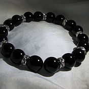 Украшения handmade. Livemaster - original item Bracelet with black agate and crystals. Handmade.