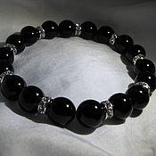 handmade. Livemaster - original item Bracelet with black agate and crystals. Handmade.