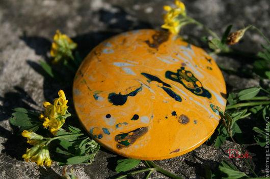 """Броши ручной работы. Ярмарка Мастеров - ручная работа. Купить Брошь """" Желтые полевые цветы"""" _ марморирование. Handmade."""