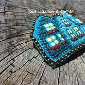 Украшения handmade. Livemaster - original item Brooch Turquoise knit town 3 brooch embroidered houses. Handmade.