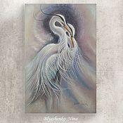 Картины ручной работы. Ярмарка Мастеров - ручная работа Белые цапли (32х50) графика. Handmade.