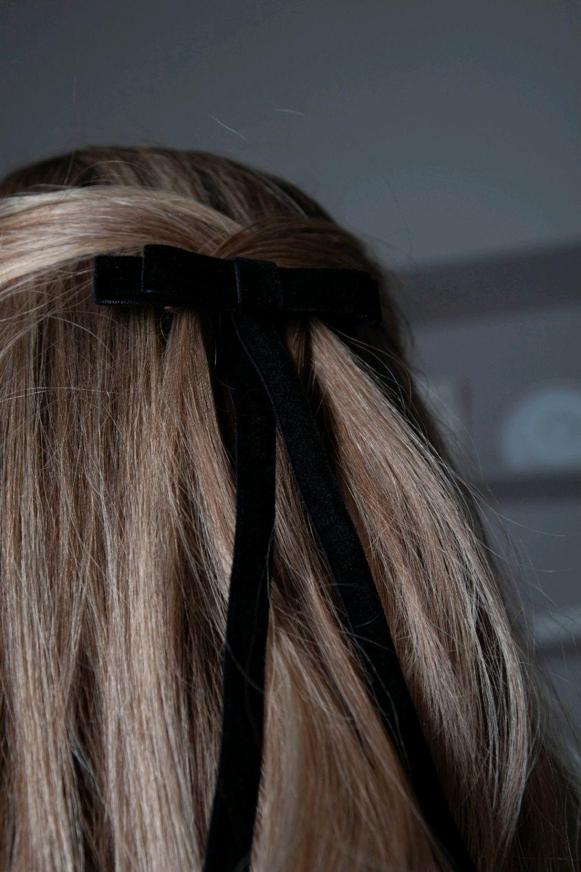 Бант-заколка для волос Мерси из бархата черный, Заколки, Москва,  Фото №1