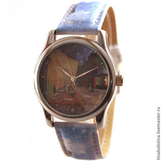 """Часы ручной работы. Ярмарка Мастеров - ручная работа. Купить Дизайнерские наручные часы по мотивам """"Ночная терраса кафе"""" Ван Гога. Handmade."""