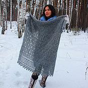 Shawls1 handmade. Livemaster - original item Grey downy openwork shawl