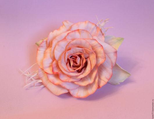 Броши ручной работы. Ярмарка Мастеров - ручная работа. Купить Роза из фоамирана. Handmade. Бледно-розовый, 8 марта, фоамиран