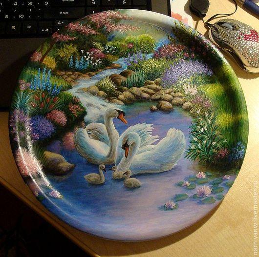 Декоративная посуда ручной работы. Ярмарка Мастеров - ручная работа. Купить Тарелочка Лебединое счастье. Handmade. Лебеди, красота, тарелка
