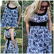Одежда handmade. Livemaster - original item Long summer dress made of cotton in boho style Leila black and white. Handmade.