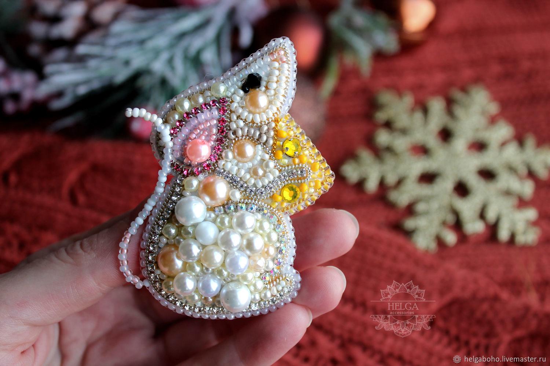 Brooch-pin: white mouse, Brooches, Lobnya,  Фото №1