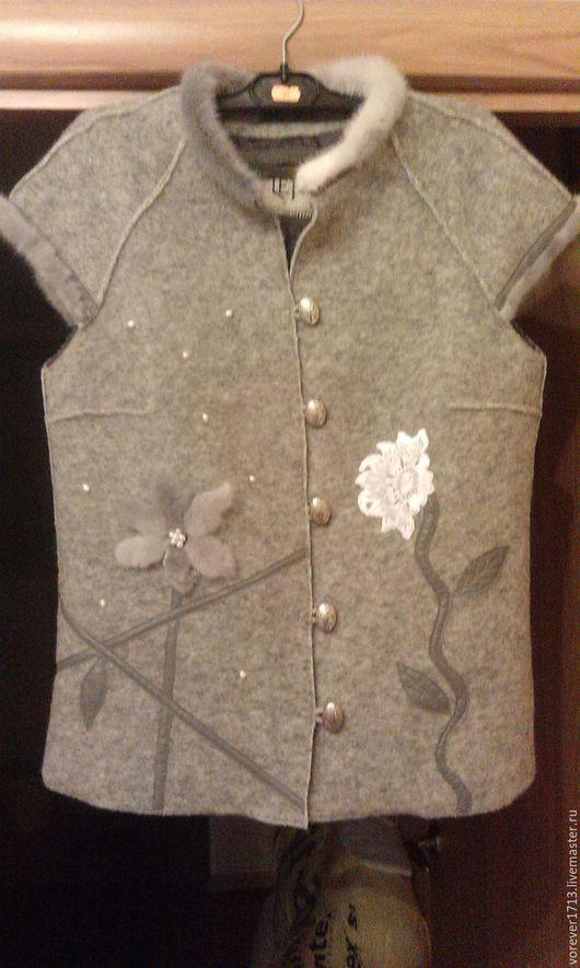 Пиджаки, жакеты ручной работы. Ярмарка Мастеров - ручная работа. Купить Пиджак-жакет из лодена,норки ,кожи.. Handmade. Серый