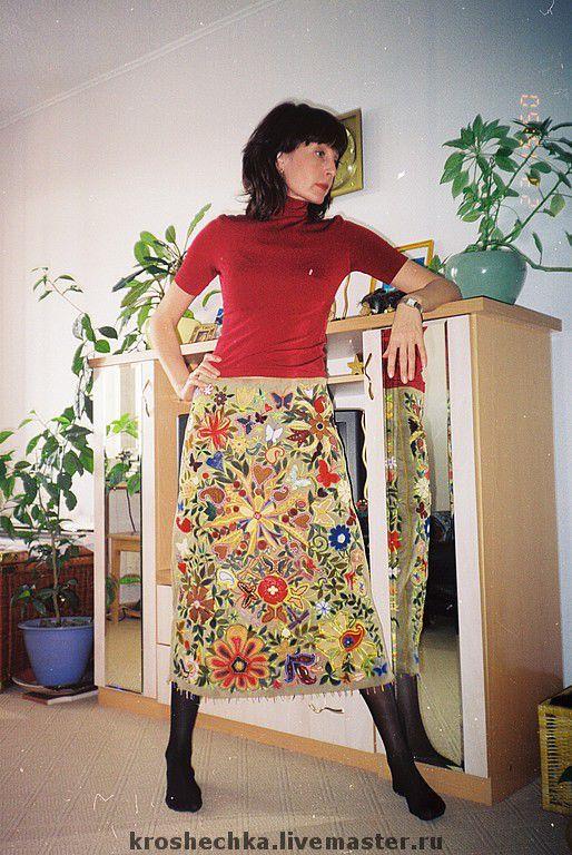 Skirts handmade. Livemaster - handmade. Buy The winter embroidered Colourful skirt..Warm winter skirt, leather, sheepskin