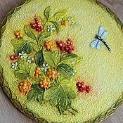 Картины и панно ручной работы. Ярмарка Мастеров - ручная работа Тарелочки с цветами-ягодами. Handmade.