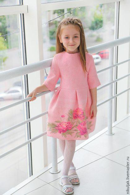 Одежда для девочек, ручной работы. Ярмарка Мастеров - ручная работа. Купить Платье валяное Пионы. Handmade. Бледно-розовый, платье