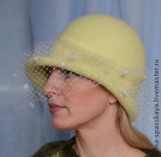 """Шляпы ручной работы. Ярмарка Мастеров - ручная работа. Купить Дамская шляпка Акации гроздья душистые"""". Handmade. Лимонный"""