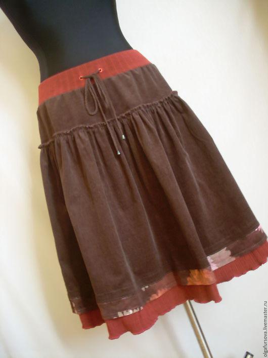 Юбки ручной работы. Ярмарка Мастеров - ручная работа. Купить Вельветовая юбка коричневая. Handmade. Коричневый, бохо-стиль