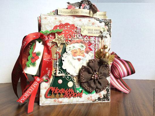 """Фотоальбомы ручной работы. Ярмарка Мастеров - ручная работа. Купить """"Новогодний"""" фотоальбом. Handmade. Ярко-красный, памятный подарок"""