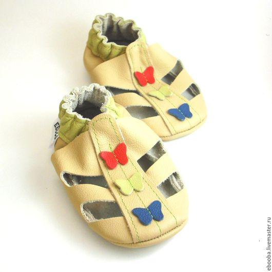 Кожаные чешки тапочки пинетки сандалики бежевые бабочки красные оливковые синие ebooba