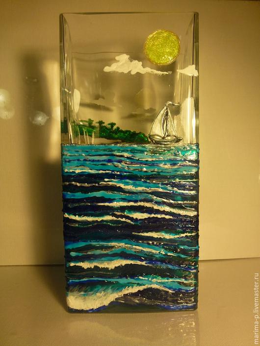 Вазы ручной работы. Ярмарка Мастеров - ручная работа. Купить воспоминания о море. Handmade. Синий, волны, Витражная роспись