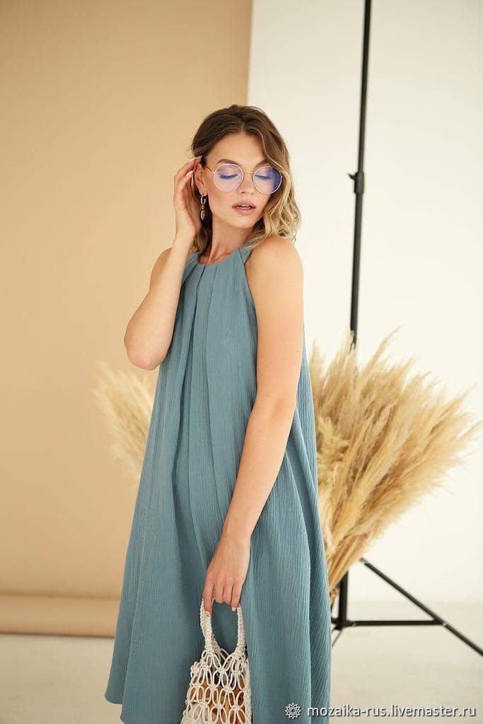 Sundress light loose cotton blue Sea, Sundresses, Novosibirsk,  Фото №1