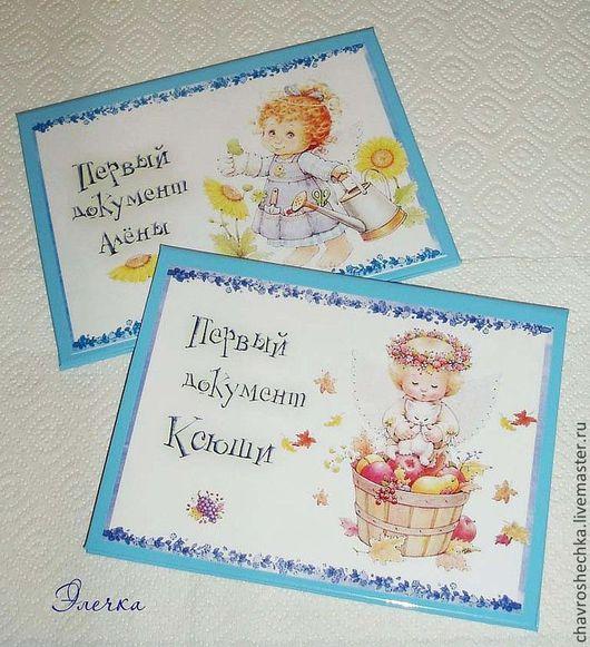 """Подарки для новорожденных, ручной работы. Ярмарка Мастеров - ручная работа. Купить """"Ангелочки"""" Именные папки для св-ва о рождении. Handmade."""