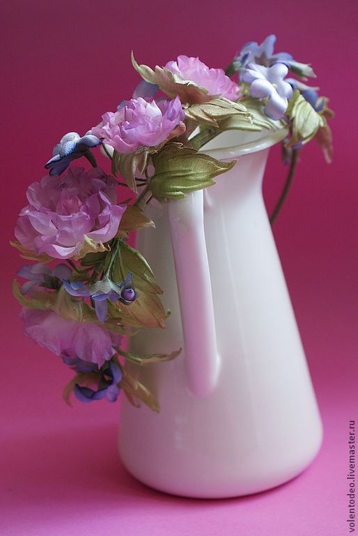 Комплекты украшений ручной работы. Ярмарка Мастеров - ручная работа. Купить Украшение из шелка. Handmade. Розовый, кольцо с цветами