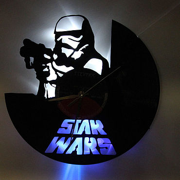 For home and interior handmade. Livemaster - original item Wall clock with LED backlight from Imperial Stormtrooper plate. Handmade.