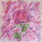 """Аксессуары ручной работы. Ярмарка Мастеров - ручная работа Шелковый платок """"Розовая роза"""". Handmade."""