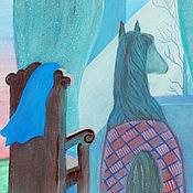 Элементы интерьера ручной работы. Ярмарка Мастеров - ручная работа Иллюстрация Синяя лошадь у окна. В детскую комнату. Handmade.
