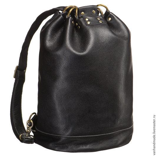 Рюкзаки ручной работы. Ярмарка Мастеров - ручная работа. Купить Стильный кожаный рюкзак-мешок-трансформер. Handmade. Черный