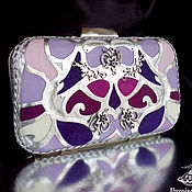 Клатчи ручной работы. Ярмарка Мастеров - ручная работа Клатч из натуральной кожи Art Deco lilac. Handmade.