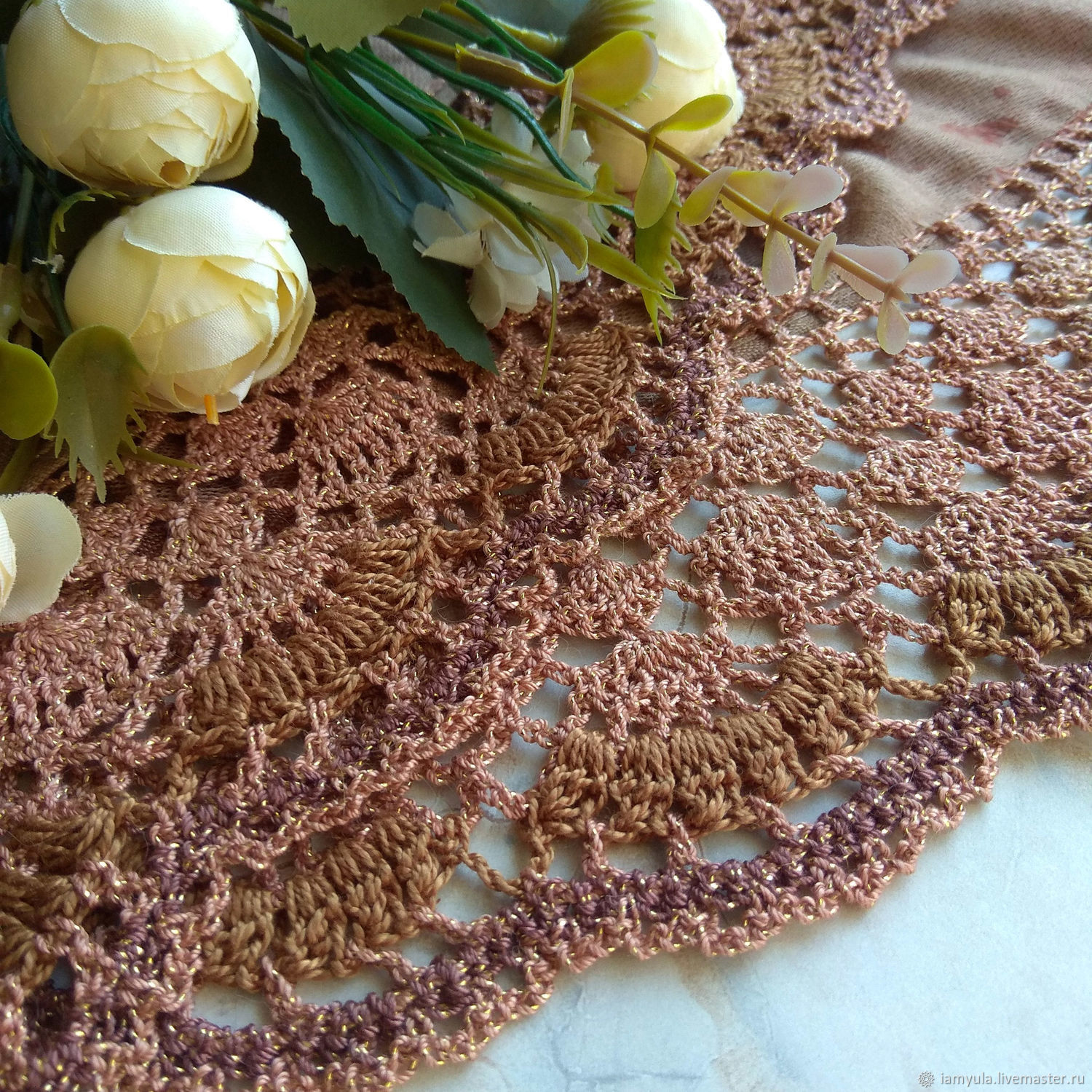 Summer stole 'Cinnamon' with openwork knitted border, Wraps, Naberezhnye Chelny,  Фото №1