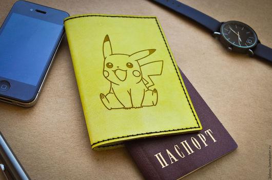 Обложки ручной работы. Ярмарка Мастеров - ручная работа. Купить Обложка для паспорта из натуральной кожи. Handmade. Пикачу, покемоны