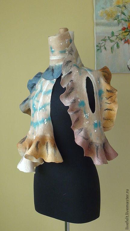 Шарфы и шарфики ручной работы. Ярмарка Мастеров - ручная работа. Купить Валяный  шарф  бежево-голубой. Handmade. Валяный, нежный